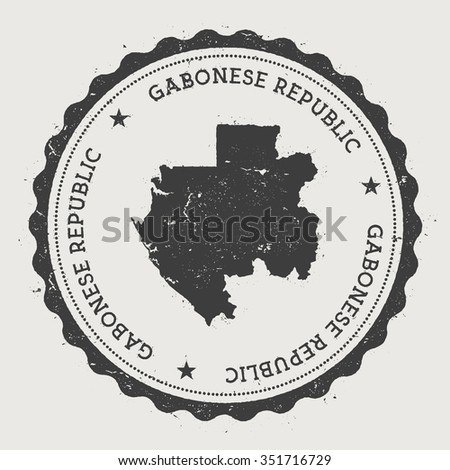 Gabonese Republic. Hipster round rubber stamp with Gabon map. Vintage passport stamp with circular text and stars, vector illustration - stock vector