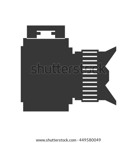 Gadget concept represented by silhouette of camera icon. Isolated and flat illustration