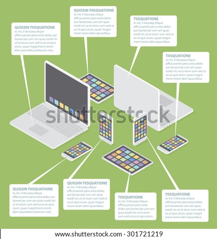 Gadget concept. Vector 3d flat isometric cell phone, laptop and touch pad - stock vector