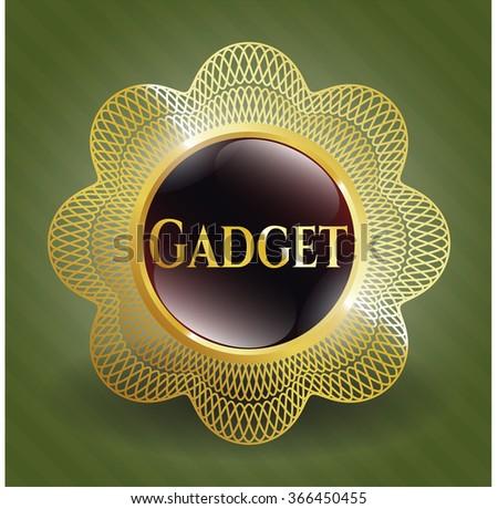 Gadget gold shiny emblem - stock vector