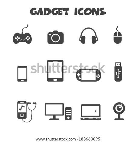 gadget icons, mono vector symbols - stock vector