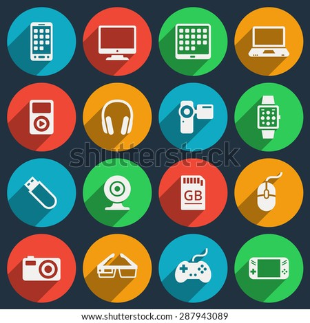 Gadget icons set. Phone and camera, gadget media, laptop and headphone, electronic video player, vector illustration - stock vector