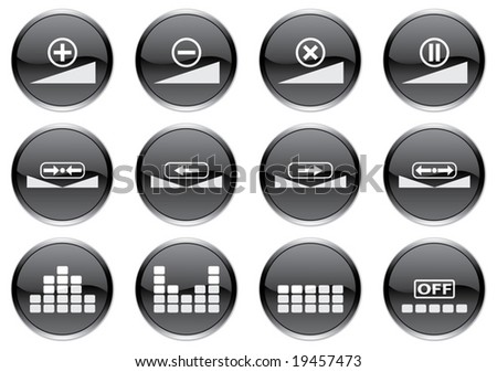 Gadget icons set. White - black palette. Vector illustration. - stock vector