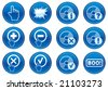 Gadget icons set. White - dark blue palette. Vector illustration. - stock photo