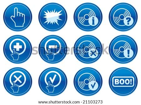 Gadget icons set. White - dark blue palette. Vector illustration. - stock vector
