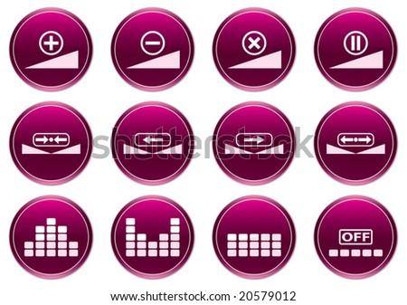 Gadget icons set. White - purple palette. Vector illustration. - stock vector