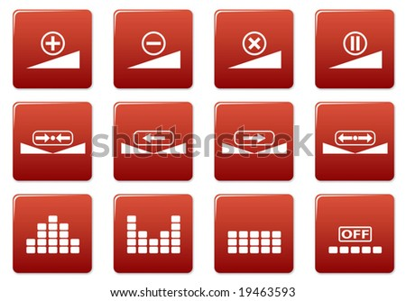Gadget square icons set. Red - white palette. Vector illustration. - stock vector