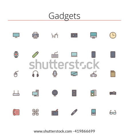 Gadgets and devices colored line icons set. Pixel perfect icons. Vector illustration. Geometric background.