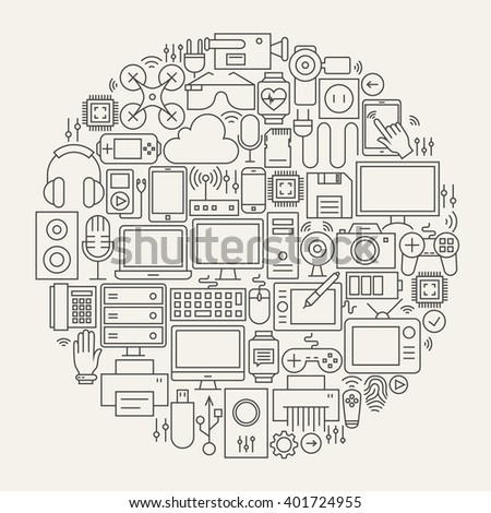 Gadgets and Devices Line Icons Set Circle Shape. Vector Illustration of Modern Technology and Electronics Objects.