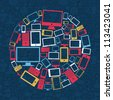 Gadgets icons circle shape over social media pattern background. Vector illustration layered for easy manipulation and custom coloring. - stock vector