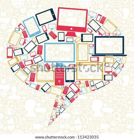 Gadgets icons in bubble talk shape over social media background. Vector illustration layered for easy manipulation and custom coloring. - stock vector