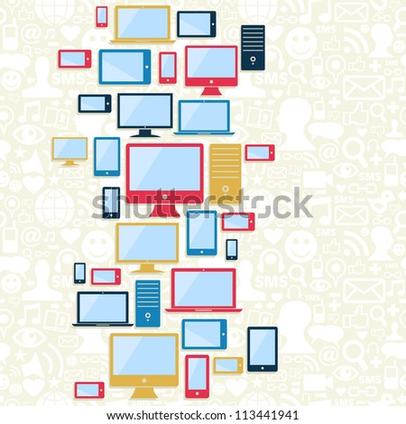 Gadgets icons seamless pattern over social media background. Vector illustration layered for easy manipulation and custom coloring. - stock vector