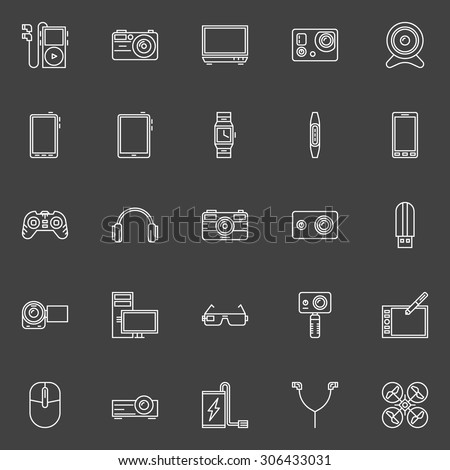 Gadgets icons set - vector devices or technology symbols on dark background