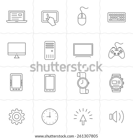 Gadgets linear icon set. Electronic gadgets and computer devices. Simple outlined icons. Linear style - stock vector
