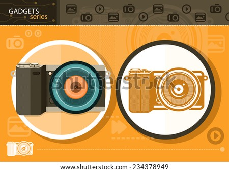 Gadgets series with two digital cameras in circle frames color and colorless variant on orange with devices silhouettes background - stock vector
