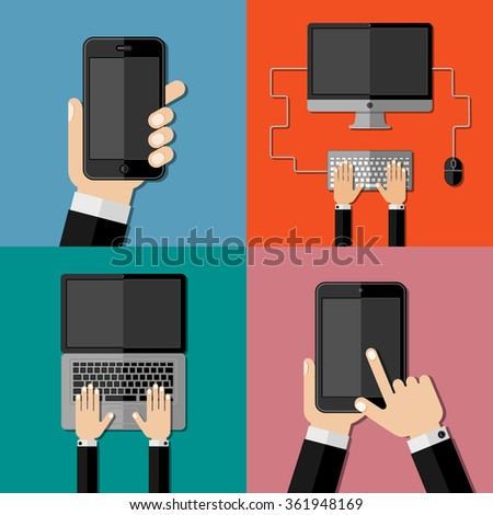 Gadgets. Set of flat icons. Vector illustration. - stock vector