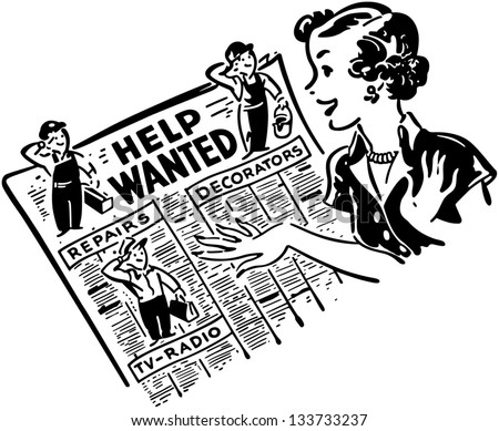 gal reading help wanted ads retro stock vector hd royalty free rh shutterstock com help wanted sign clipart Now Hiring Clip Art