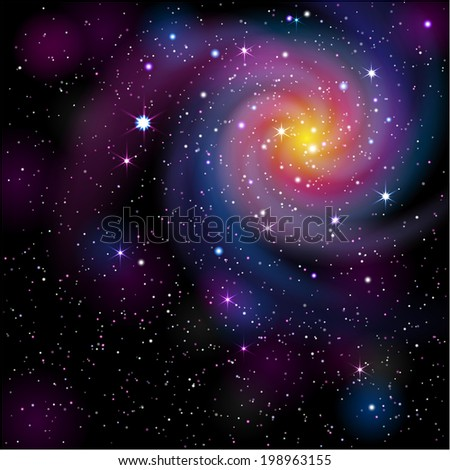 Galaxy Background. EPS 10. Mask was used, so you can move objects and use them separately.  Smartly grouped and layered.  - stock vector