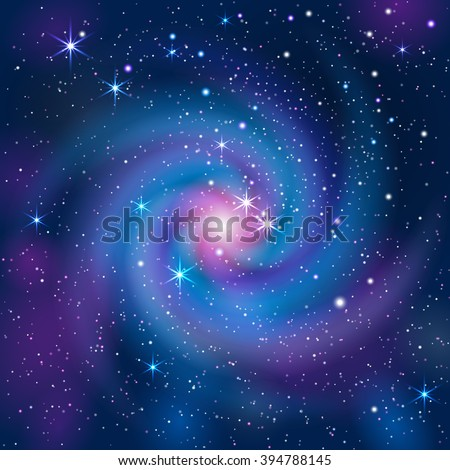 Galaxy Background. Mask was used, so you can move objects and use them separately.  Smartly grouped and layered.  - stock vector