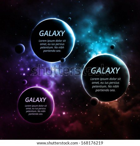 Galaxy background with three planets for text, eps 10 - stock vector
