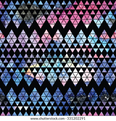 Galaxy seamless pattern with triangles and geometric shapes. Vector trendy illustration.