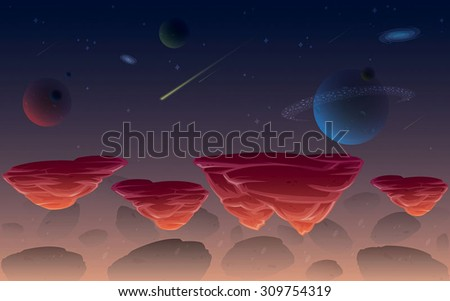 Galaxy space game background - stock vector