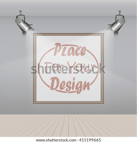 Gallery room  interior with blank picture frame illuminated with spotlights realistic 3d vector illustration - stock vector