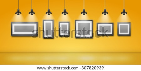 Gallery room yellow wall interior with blank frames illuminated with spotlights. Realistic 3d vector illustration - stock vector