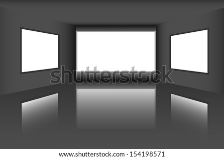 Gallery with empty frames on wall - stock vector
