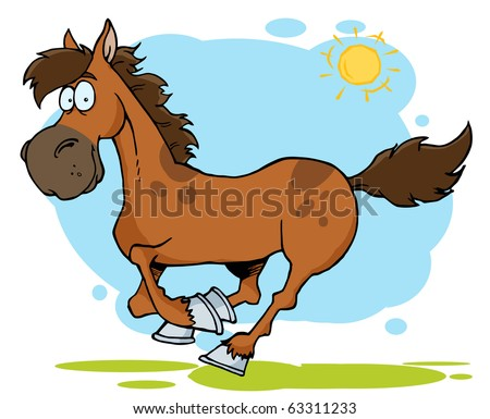 Galloping Cartoon Horse - stock vector