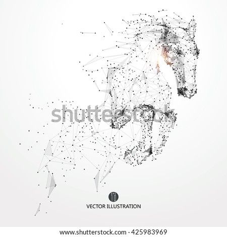 Galloping horse,lines and connected to form,vector illustration,The moral development and progress. - stock vector