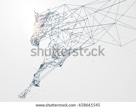 Galloping horse,Network connection turned into,vector illustration,