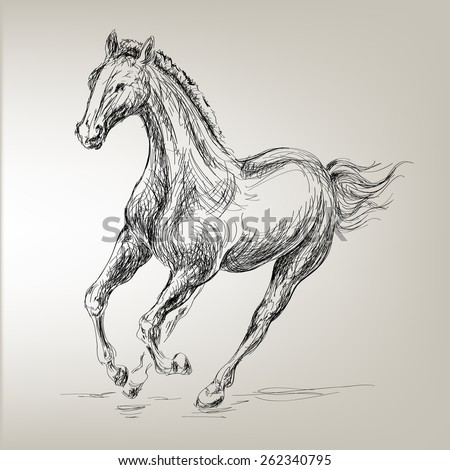 Galloping horses Images based on Hand drawn  - stock vector