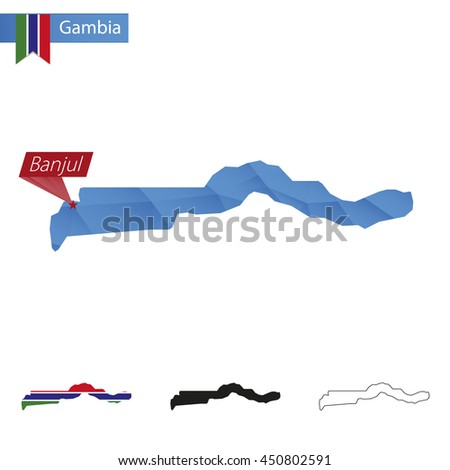 Gambia blue Low Poly map with capital Banjul, versions with flag, black and outline. Vector Illustration. - stock vector