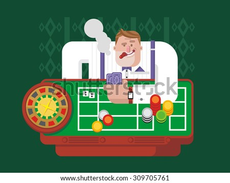 Gambler playing roulette. Luck chance, gambling game, casino and fortune, leisure and success risk. Flat vector illustration - stock vector