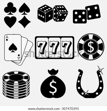 Gambling and casino flat icons set. Vector - stock vector