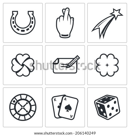 Gambling and fortune icon set - stock vector