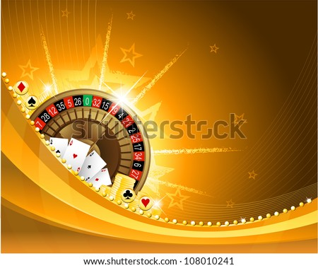 Gambling background with casino elements - stock vector