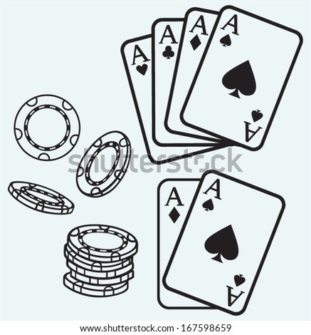 Gambling. Cards and chips isolated on blue batskground - stock vector