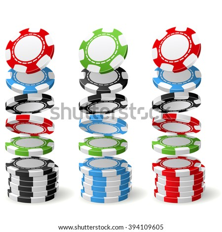 Gambling (casino) chips falling to stacks - poker chips