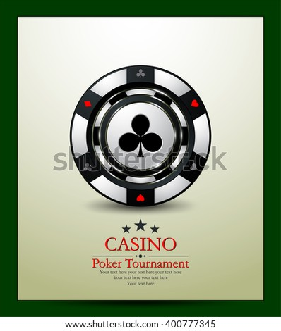 Gambling chip club. Casino background.Vip.Vintage style and Poker Tournament label. - stock vector