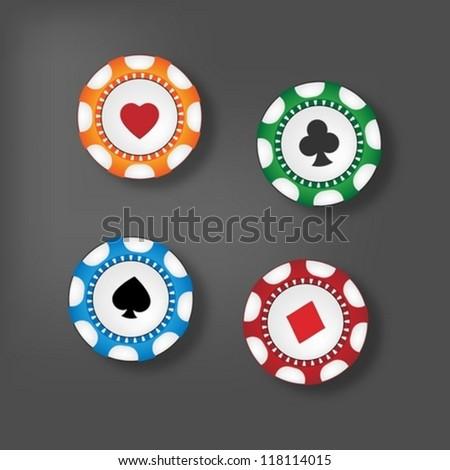 Gambling chips - stock vector