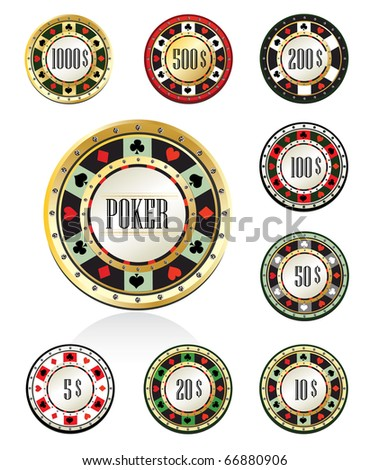 Gambling chips - stock vector