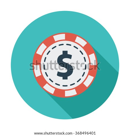 Gambling chips icon. Flat vector related icon with long shadow for web and mobile applications. It can be used as - logo, pictogram, icon, infographic element. Vector Illustration. - stock vector