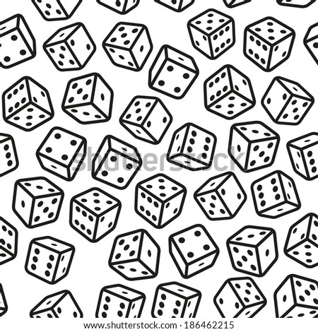 Gambling Dices Seamless Pattern on White Background. Vector - stock vector