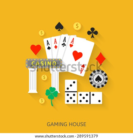Gambling flat icons set. Casino concept collection. - stock vector