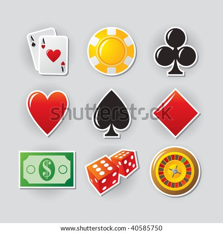 Gambling icon set for online casino or entertainment site. - stock vector