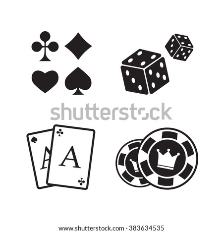 Gambling icons set. Card and casino, poker game - stock vector