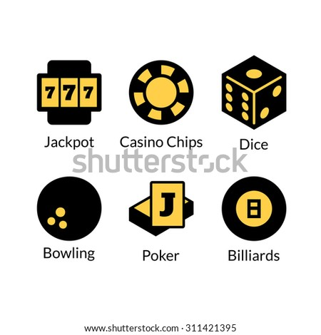 Gambling icons set, games of chance logo, vector illustration in cartoon style - stock vector