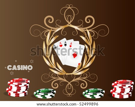 Gambling illustration with casino elements on brown backround